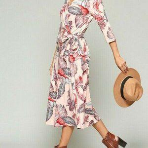 Bluheaven By Umgee Wrap Dress Feather Midi